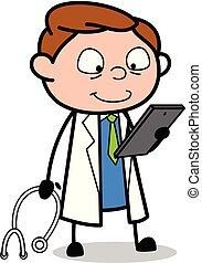 doutor, verificar, médico, -, ilustração, vetorial, relatório, profissional, caricatura
