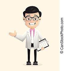 doutor, vetorial, apresentando, neurologista, reunião, feliz