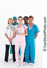 doutores, câmera, sorrindo, equipe