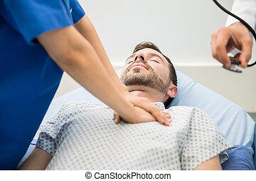 doutores, dar, cpr, para, um, paciente