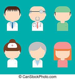 doutores, style., jogo, icons., trendy, médico, caráteres, apartamento