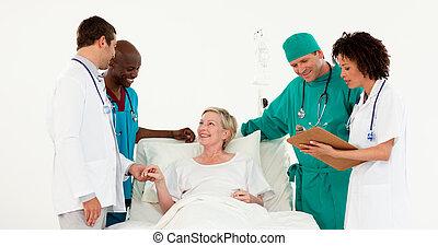doutores, tomar conta, um, paciente