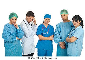 doutores, triste, equipe