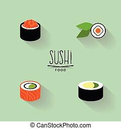 doux, étiquettes, sushi