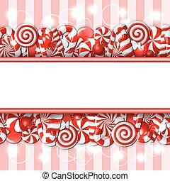 doux, blanc, candies., bannière, rouges