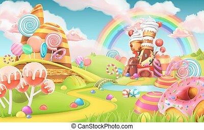 doux, bonbon, land., dessin animé, jeu, arrière-plan., 3d,...
