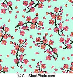 doux, branche, fleurs, cerise