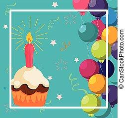 doux, cadre, petit gâteau, anniversaire, hélium, ballons