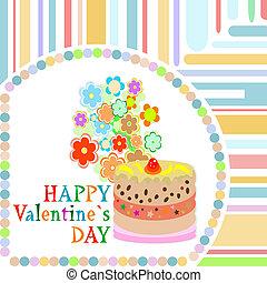 doux, cadre, petite amie, vecteur, jour, cupcake.