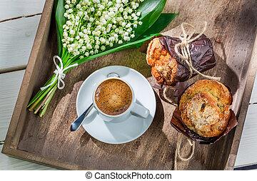 doux, café, chaud, délicieux, muffin