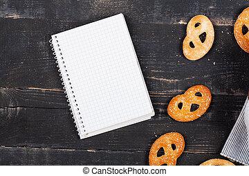 doux, calories, cahier, fond, dénombrement, biscuits