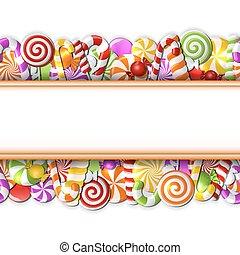 doux, candies., bannière, coloré