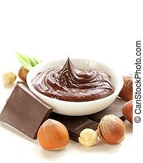 doux, chocolat, diffusion, noisette