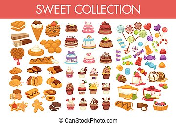 doux, collection, de, délicieux, desserts, et, coloré,...