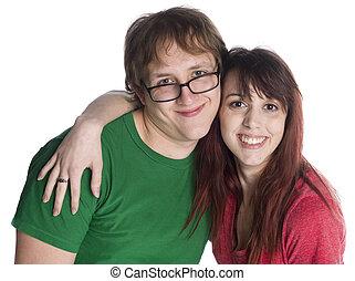 doux, couple, jeune regarder, appareil photo, heureux