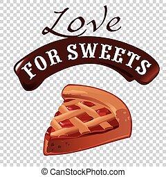 doux, dessert, vecteur, illustration, morceau, de, tarte