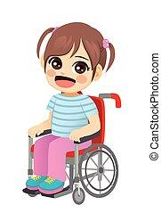doux, fauteuil roulant, petite fille