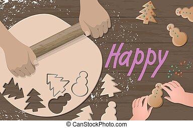 doux, forme, pâte, table, faire, comment, enseignement, vacances, noël, heureux, plat, illustration, découpage, poser, rouler, hands., gosse, bois, cookies., decoration., arbre, vecteur, homme, pain épice, vue, sommet, préparer