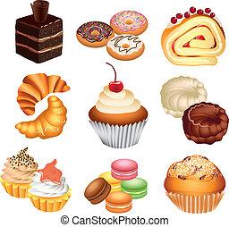 doux, gâteaux, vecteur, ensemble, coloré
