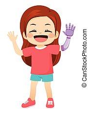 doux, girl, heureux, bras, prothétique