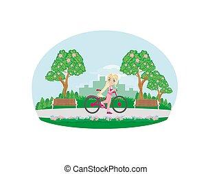 doux, girl, vélo, parc
