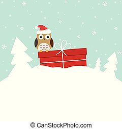 doux, hiver, carte, hibou