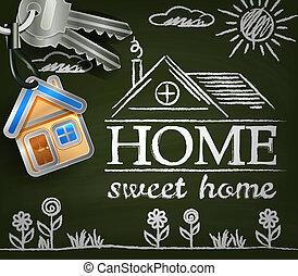 doux, house., keys., affiche, maison, soleil, fleurs, home.