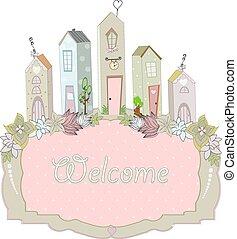 doux, illustration, vecteur, maison, carte, design.