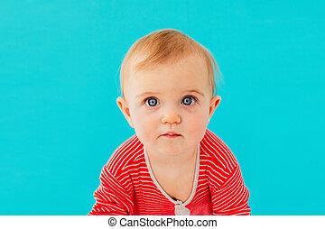 doux, image, closeup, enfant, portrait, bébé