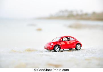 doux, israël, téléphone, 2017:, 10, avril, voiture, -, foyer, miniature, aviv, plage, rouges