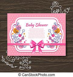 doux, jouets, douche, invitation, bébé, griffonnage