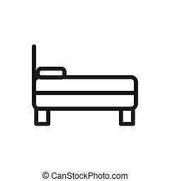 doux, lit, confortable, matelas, linéaire, oreiller, vue, textile, côté, conception