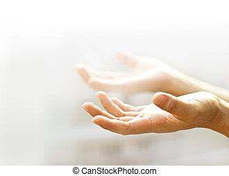 doux, mains, foyer, arrière plan flou, humain, lumière,...