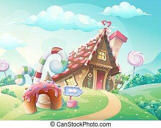 Maison hant clair par la lune illustration nuit vecteur eps rechercher des clip art - Maison en biscuit et bonbons ...