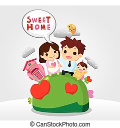 doux, maison, famille, carte