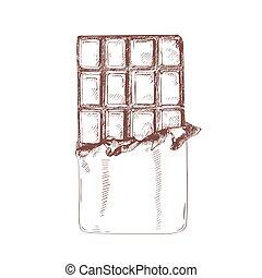 doux, naturel, patisserie, délicieux, défait, style., confiserie, vendange, produit, isolé, arrière-plan., dessiné, blanc, dessert, main, organique, assortiment, barre chocolat, illustration., vecteur, dessin