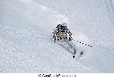 doux, neige, skieur