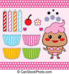doux, petit gâteau, poupée papier