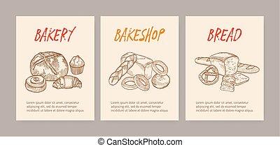 doux, savoureux, patisserie, délicieux, monochrome, pains,...