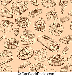 doux, seamless, pâtisseries