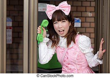 doux, téléphoner, japonaise, lolita