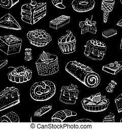 doux, tableau, pâtisseries