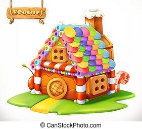doux, vecteur, house., 3d, icône