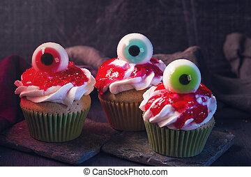 doux, yeux, petits gâteaux, halloween