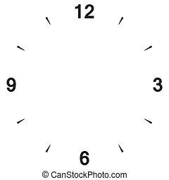 douze, cadran, horloge, six, trois, neuf