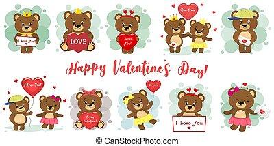 douze, ensemble, mignon, accessoires, conception, style., coeur, plat, day., divers, rouges, heureux, ours brun, caractères, letter., poses, dessin animé, balloon, mega, valentines, vecteur