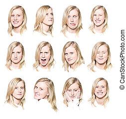 douze, femme, jeune, portraits