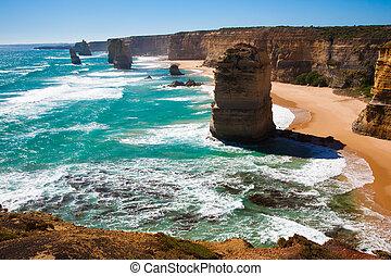 douze, grand, australie, route, apôtres, océan, victoria