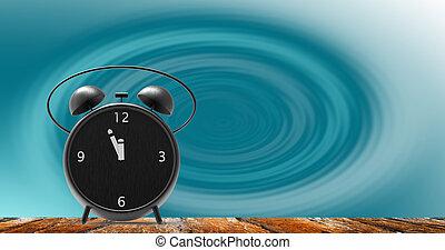 douze, peu, heure, réveille-matin, minutes