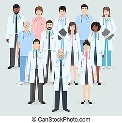 douze, style, nurses., groupe, illustration., staff., plat, ...